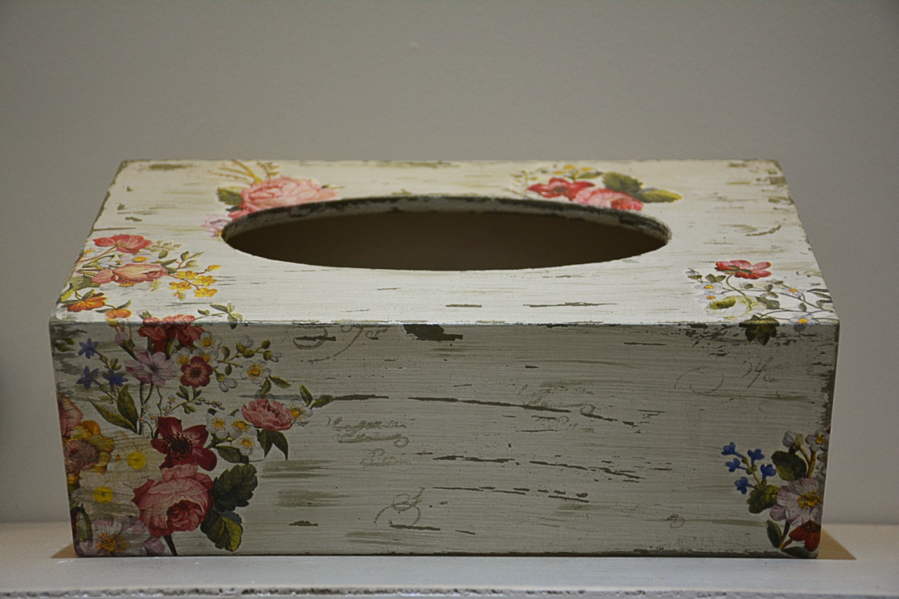 Flowers tissue box cover Handmade decoupage art on wood